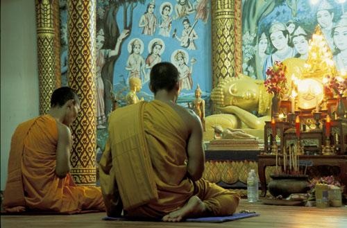 Thai monks pray